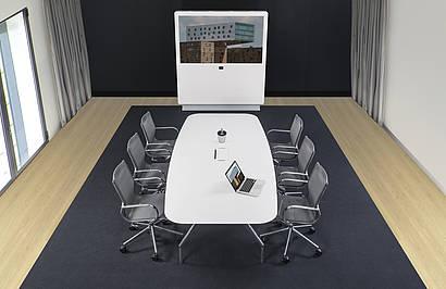 Medienstele: MI 75 | Konferenzdrehstuhl: alino | Konferenztisch: fallon